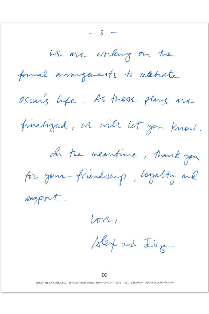 The handwritten statement announcing Oscar de la Renta's death at home in Connecticut from Alex and Eliza Bolen, the late designer's son-in-law (and CEO) and stepdaughter, October 2014