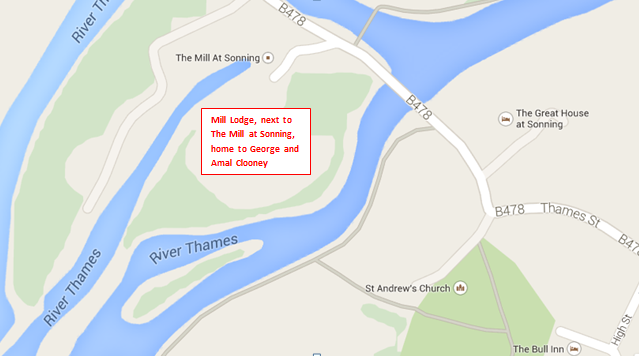 MAP George and Amal Clooney's Mill House in Sonning Eye on the Oxfordshire/Berkshire border