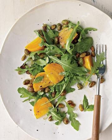 A healthy life: Beet edamame arugula salad