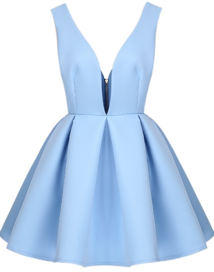 FASHION FOR THE FESTIVE SEASON: Blue backless V-neck flare dress from SheInside