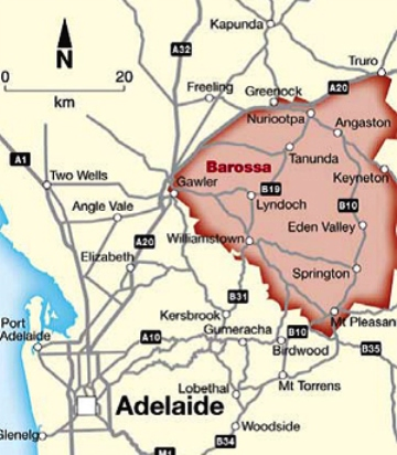 LUSCIOUS TRAVEL: Barossa Valley map - Wine region of South Australia