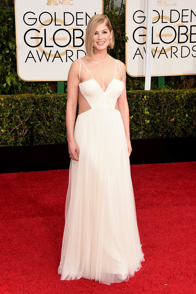 Golden Globes 2015 fashion - Rosamund Pike in white Vera Wang
