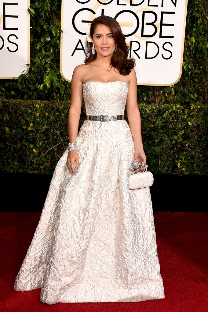Golden Globes 2015 fashion - Salma Hayek in Alexander McQueen