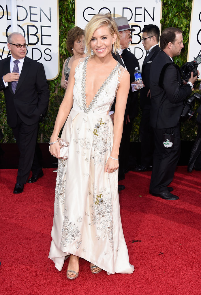Golden Globes 2015 fashion - Sienna Miller in Miu Miu and Tiffany jewellery