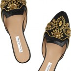 OSCAR DE LA RENTA Gold Spanish Mule embellished linen and leather slippers