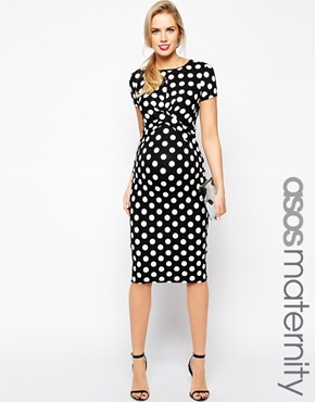 BUY ONLINE KATE MIDDLETON MATERNITY DRESS: ASOS Maternity Exclusive Body-Conscious Dress In Polka Dot With Cross Front