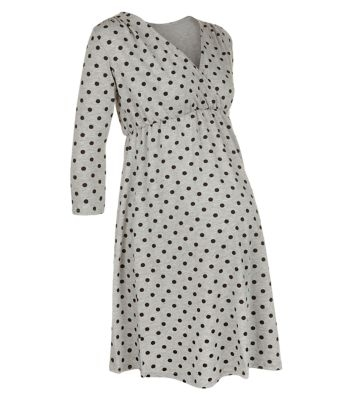 KATE MIDDLETON MATERNITY STYLE DRESS: Heavenly Bump 3-4 sleeve blue and grey polka dot wrap dress