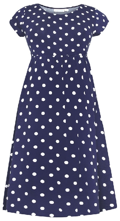 KATE MIDDLETON MATERNITY STYLE: Jojo Maman Bebe Skater Dress - Navy and white dot dress