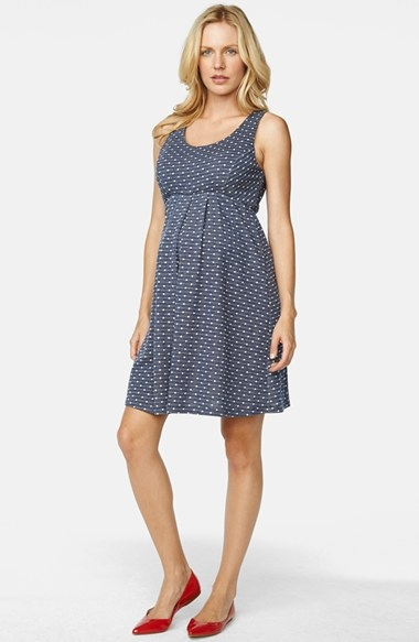 KATE MIDDLETON MATERNITY CLOTHES: Maternal America Denim Dot Sleeveless Maternity Dress, Size Medium - Blue