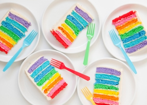 #LoveWins - Rainbow layer cake slices