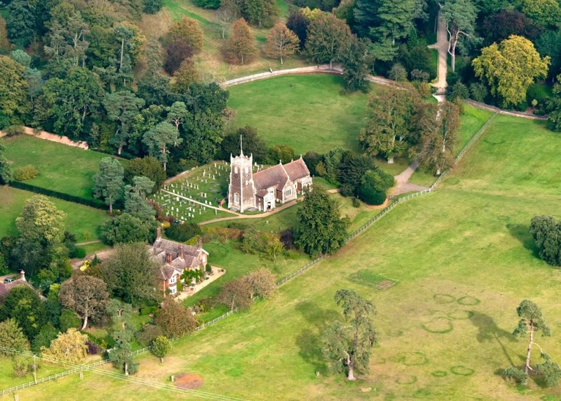 AERIAL St Mary Magdalene Church Sandringham