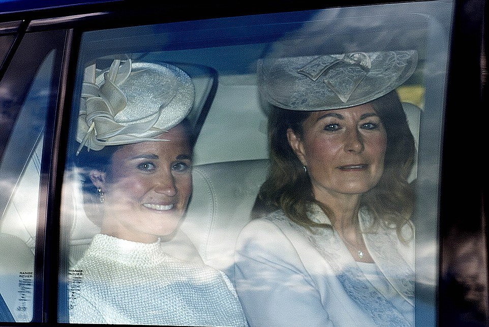 Proud aunt and grandmother, Pippa and Carole Middleton, arriving at Princess Charlotte's christening