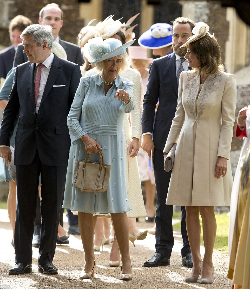 PHOTOS: Michael, James and Carole Middleton, with Camilla Duchess of Cornwall, at Princess Charlotte's christening July 2015