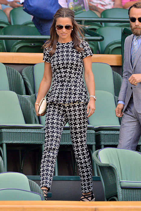 SHOP THIS LOOK: Pippa Middleton's Wimbledon 2015 outfit - Carolina Herrera peplum top and trousers