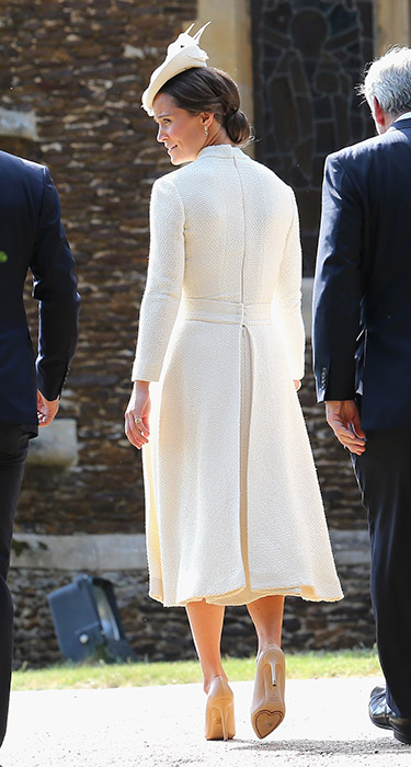 ROYAL CHRISTENING: Aunt Pippa Middleton wore bespoke Emilia Wickstead high-necked cream coat dress with patent nude heels and custom-made straw cocktail hat from Jane Taylor