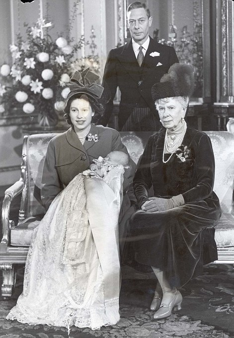 ROYAL FAMILY CHRISTENINGS: Prince Charles christening 1948 with mother Princess Elizabeth grandfather George VI and great-grandmother Queen Mary