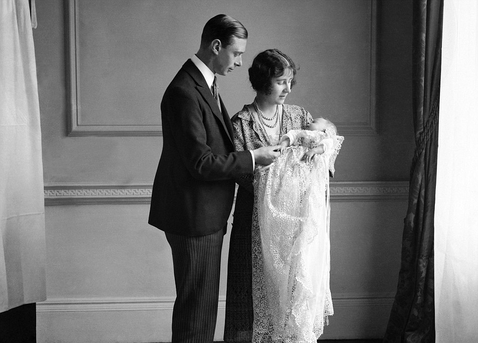 ROYAL CHRISTENING: Princess Elizabeth now the Queen with her parents then the Duke and Duchess of York at her christening in 1926