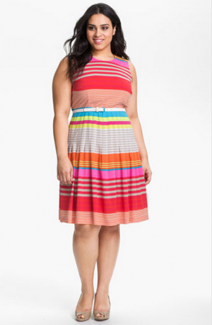 Calvin Klein Belted Striped Dress - Plus size.PNG
