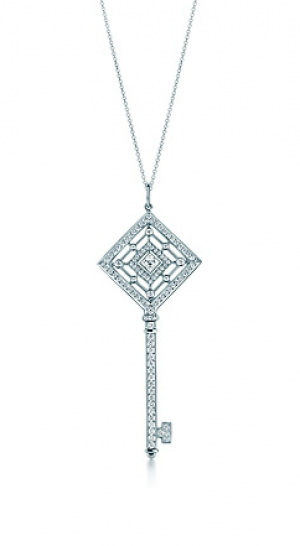 Tiffany Tiffany Keys grace key pendant in platinum with diamonds on a chain - The Great Gatsby collection.PNG