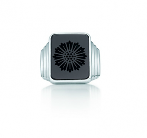 Tiffany Ziegfeld Collection daisy signet ring of black onyx in sterling silver - The Great Gatsby collection.PNG