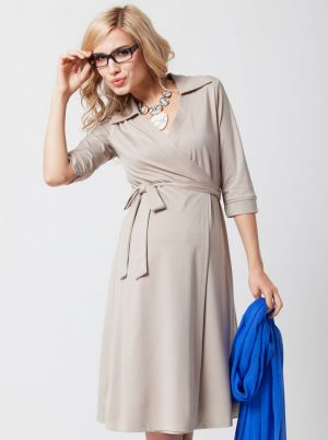 Angel Maternity Maternity Wrap Dress in Beige.jpg