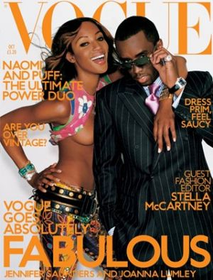 Vogue magazine covers - mylusciouslife.com - Vogue UK October 2001 - Naomi Campbell and Puff Daddy.jpg
