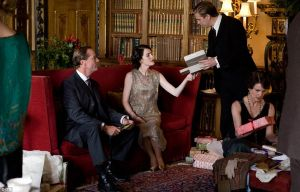 Iain Glen Michelle Dockery and Dan Stevens - Downton Abbey Christmas Special.jpg