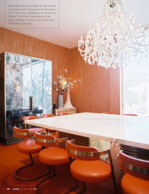 Glamorous chandelier - mylusciouslife.com - orange and white dining room with chandelier.jpeg