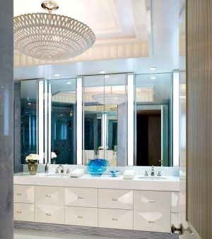 sophisticated chandeliers - mylusciouslife.com - chandelier in bathroom with blue.jpg
