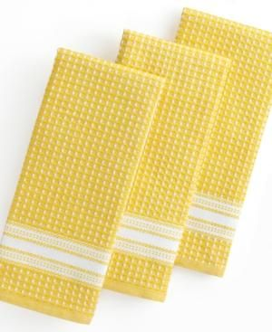 Gifts for men - Martha Stewart Collection Kitchen Towels Set of 3 Waffle Weave Yellow.jpg