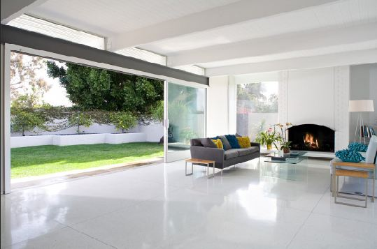 white tile floor living room images