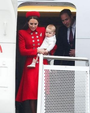 Royal tour arrival - Prince George of Cambridge with his parents in NZ.JPG