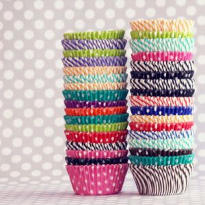 cupcake paper cups polka dots stripes - Fashion with stripes polka dots and pom poms - myLusciousLife.com.jpg