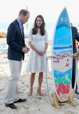 Prince William and Catherine of Cambridge wearing Zimmermann Roamer dress in Manley Sydney - royaltour 2014.jpg