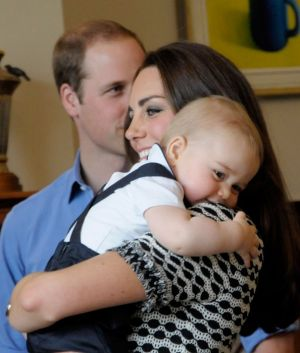 Prince George of Cambridge with his mother Kate Middleton - royal tour 2014.jpg