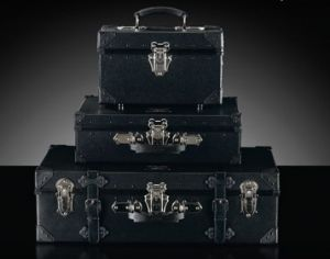 Vintage luggage - mylusciouslife.com - Samsonite black trunk stacked luggage.jpg