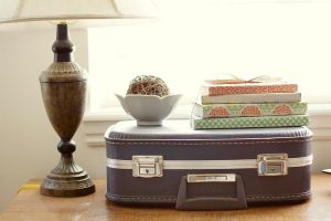 Vintage luggage - mylusciouslife.com - Vintage suitcase and lamp.jpg