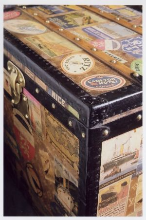 Vintage luggage - mylusciouslife.com - Vintage trunk covered in stickers.jpg