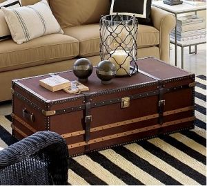 Vintage luggage - mylusciouslife.com - Vintage trunk used as coffee table.jpg