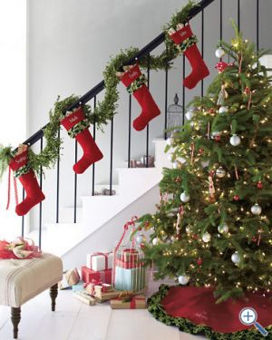 Christmas trees - mylusciouslife.com - stockings on staircase.jpg