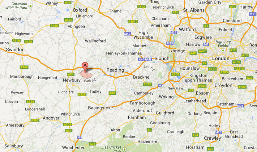 Map of Bucklebury Berkshire - home of the Middleton family